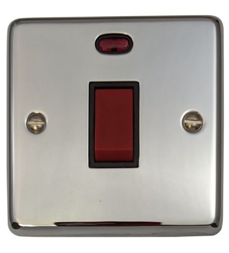 G&H CC46B Standard Plate Polished Chrome 45 Amp DP Cooker Switch & Neon Single Plate